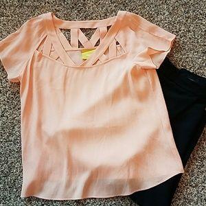 Anthro Maeve Peach Tri Cut Flutter Sleeve Top sz 4